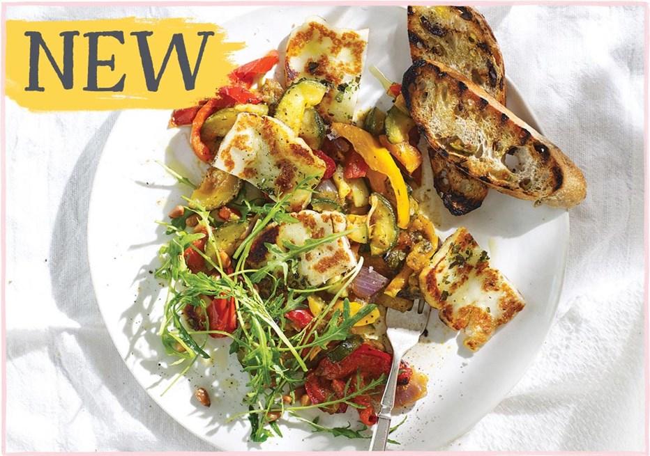 Halloumi on Roasted Vegetables with Pesto