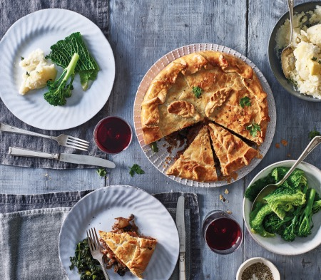 Steak, Mushroom & Merlot Pie