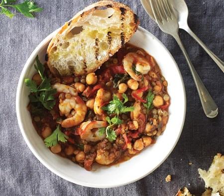 Prawns with Chorizo & Lentils