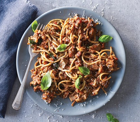 Pork & Lentil Ragu with Wholewheat Spaghetti