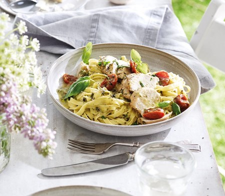 Basil & Mascarpone Chicken served with tagliatelle