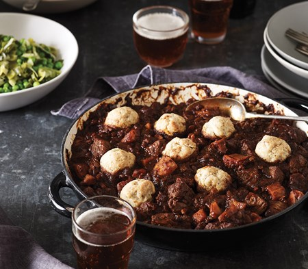 Steak & Stout Stew with Cheese Scone Dumplings