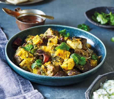Aubergine, Spinach & Paneer Curry