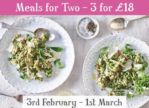 3 Meals for 2 for £18
