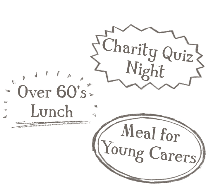 Charity quiz night; Over sixties lunch; Meals for young carers