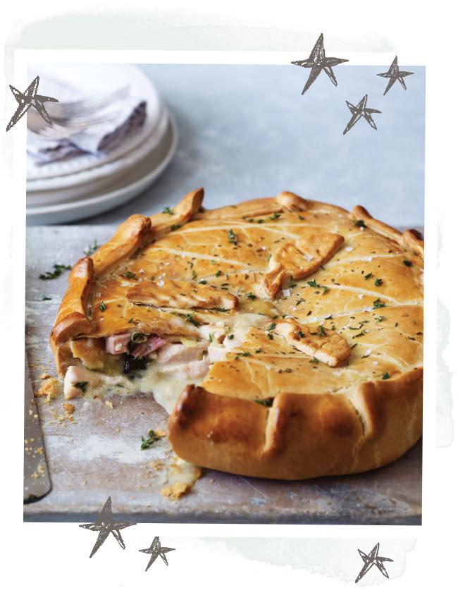 Large chicken ham and leek pie